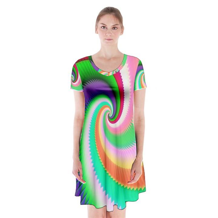 Colorful Spiral Dragon Scales   Short Sleeve V-neck Flare Dress