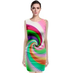 Colorful Spiral Dragon Scales   Classic Sleeveless Midi Dress