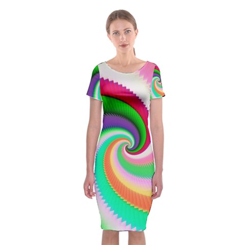 Colorful Spiral Dragon Scales   Classic Short Sleeve Midi Dress