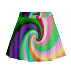 Colorful Spiral Dragon Scales   Mini Flare Skirt