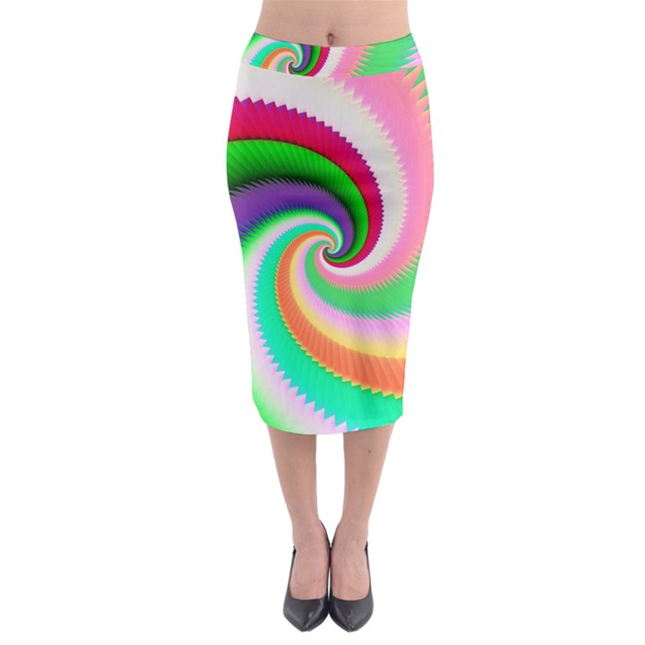 Colorful Spiral Dragon Scales   Midi Pencil Skirt