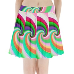 Colorful Spiral Dragon Scales   Pleated Mini Skirt