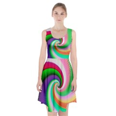 Colorful Spiral Dragon Scales   Racerback Midi Dress