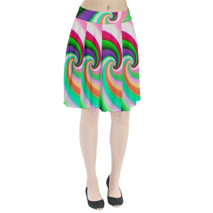 Colorful Spiral Dragon Scales   Pleated Skirt