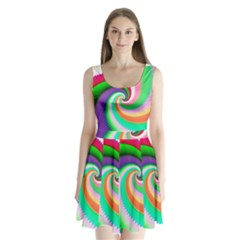 Colorful Spiral Dragon Scales   Split Back Mini Dress
