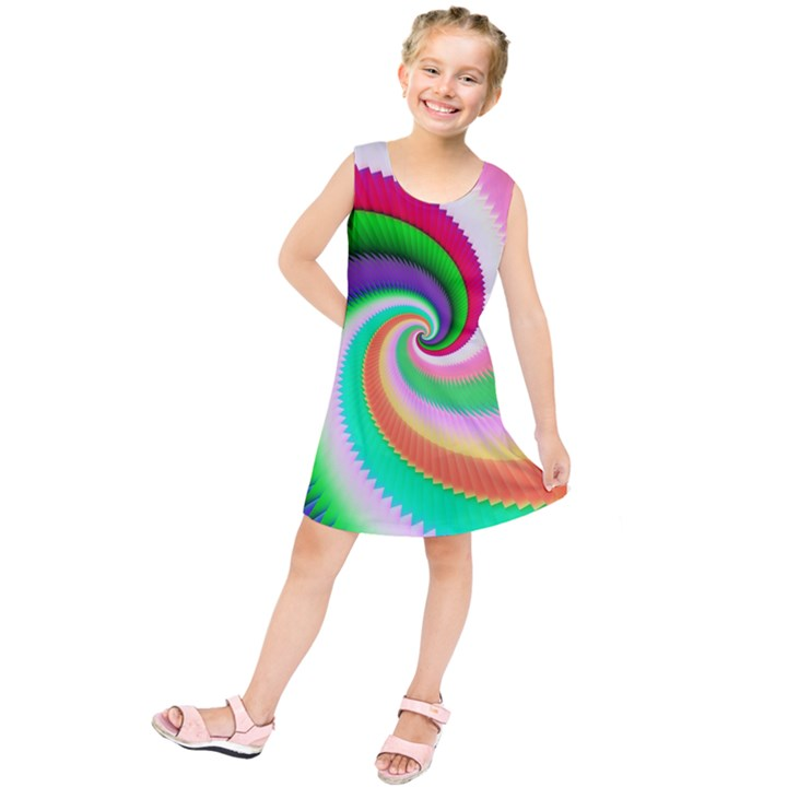 Colorful Spiral Dragon Scales   Kids  Tunic Dress