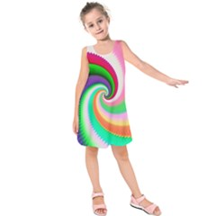 Colorful Spiral Dragon Scales   Kids  Sleeveless Dress