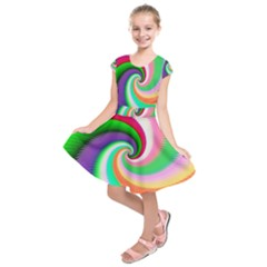 Colorful Spiral Dragon Scales   Kids  Short Sleeve Dress