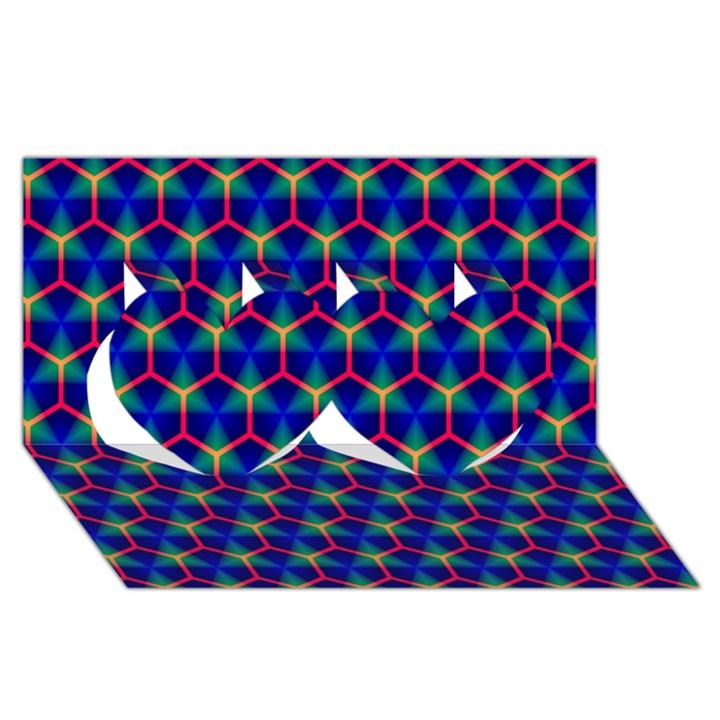 Honeycomb Fractal Art Twin Hearts 3D Greeting Card (8x4)