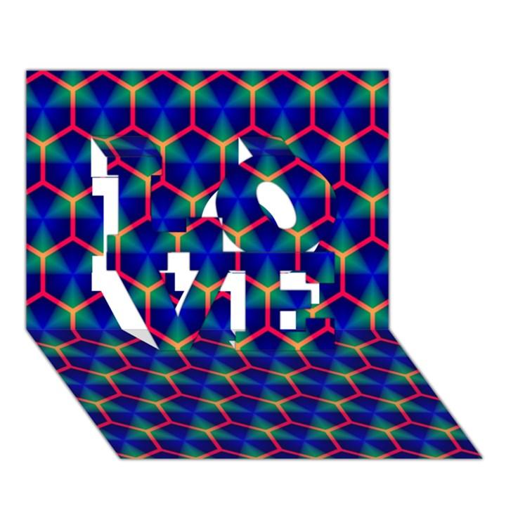Honeycomb Fractal Art LOVE 3D Greeting Card (7x5)
