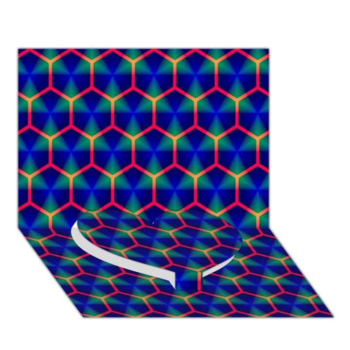 Honeycomb Fractal Art Heart Bottom 3D Greeting Card (7x5)