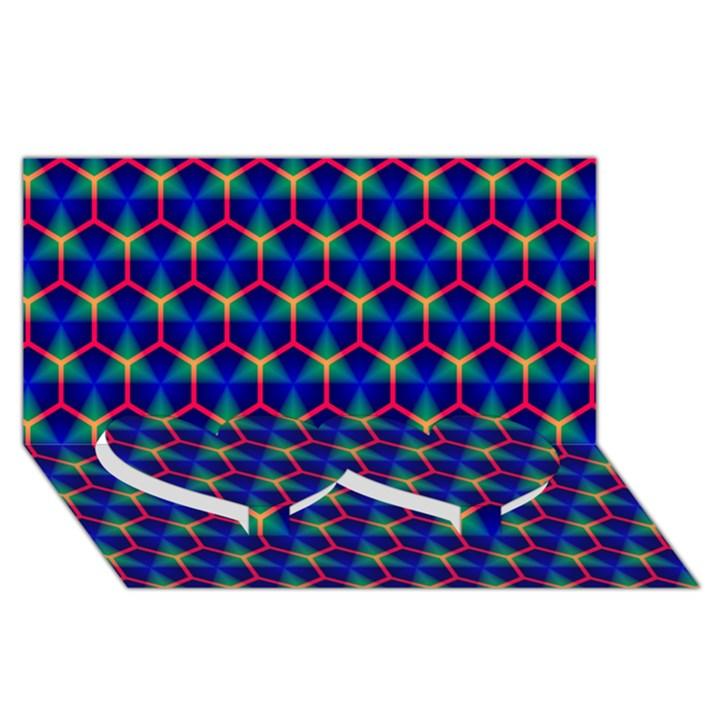 Honeycomb Fractal Art Twin Heart Bottom 3D Greeting Card (8x4)