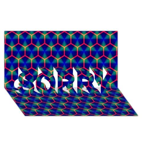 Honeycomb Fractal Art SORRY 3D Greeting Card (8x4)