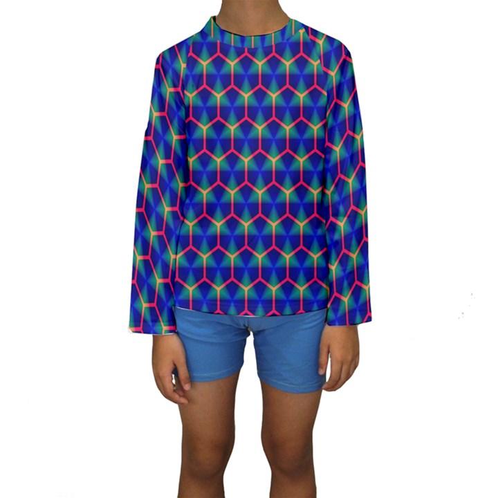 Honeycomb Fractal Art Kids  Long Sleeve Swimwear