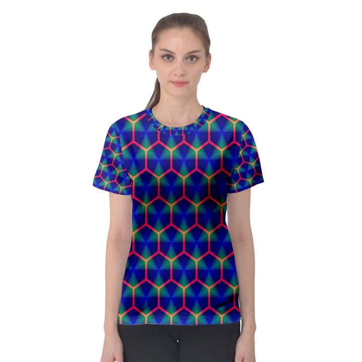 Honeycomb Fractal Art Women s Sport Mesh Tee