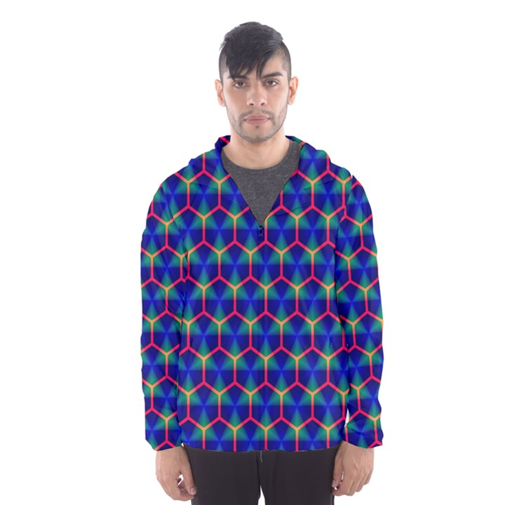 Honeycomb Fractal Art Hooded Wind Breaker (Men)