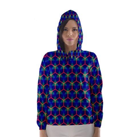 Honeycomb Fractal Art Hooded Wind Breaker (Women)