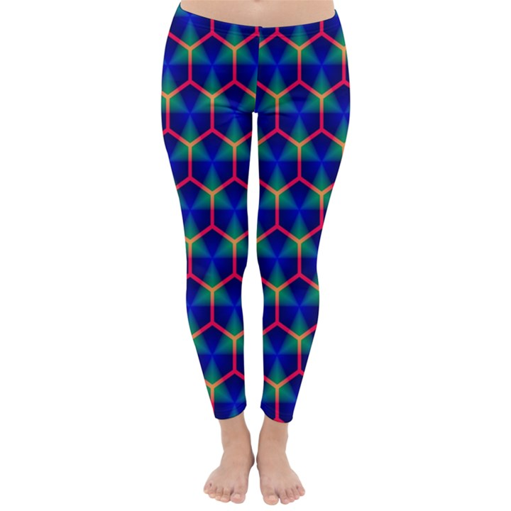 Honeycomb Fractal Art Winter Leggings
