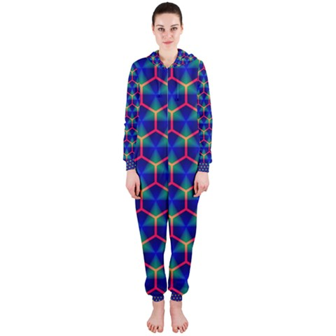 Honeycomb Fractal Art Hooded Jumpsuit (Ladies)