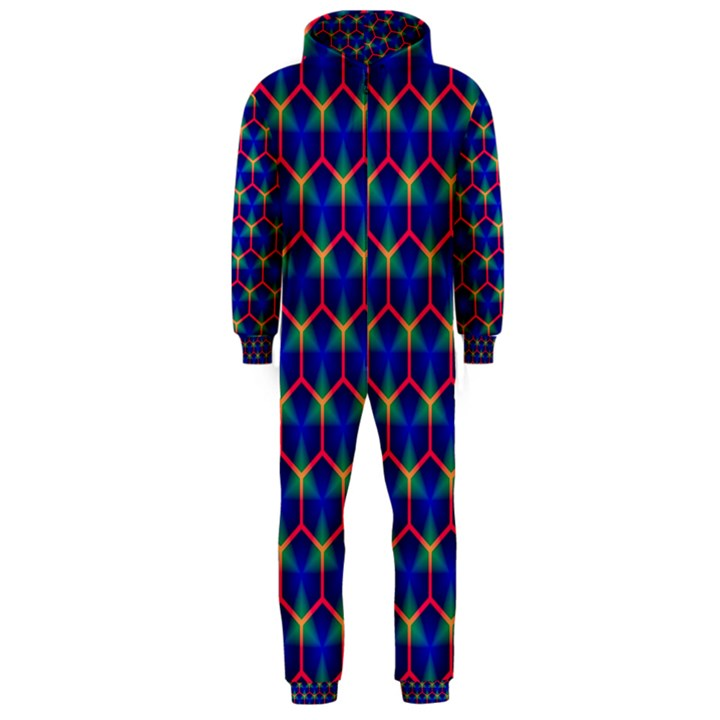 Honeycomb Fractal Art Hooded Jumpsuit (Men)