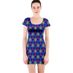 Honeycomb Fractal Art Short Sleeve Bodycon Dress