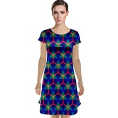 Honeycomb Fractal Art Cap Sleeve Nightdress