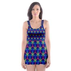 Honeycomb Fractal Art Skater Dress Swimsuit