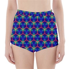 Honeycomb Fractal Art High-Waisted Bikini Bottoms