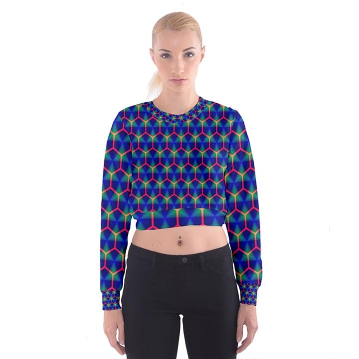 Honeycomb Fractal Art Women s Cropped Sweatshirt