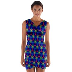 Honeycomb Fractal Art Wrap Front Bodycon Dress