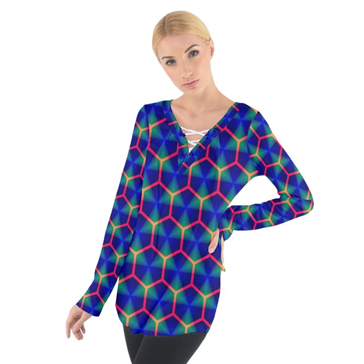 Honeycomb Fractal Art Women s Tie Up Tee