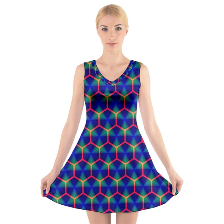 Honeycomb Fractal Art V-Neck Sleeveless Skater Dress