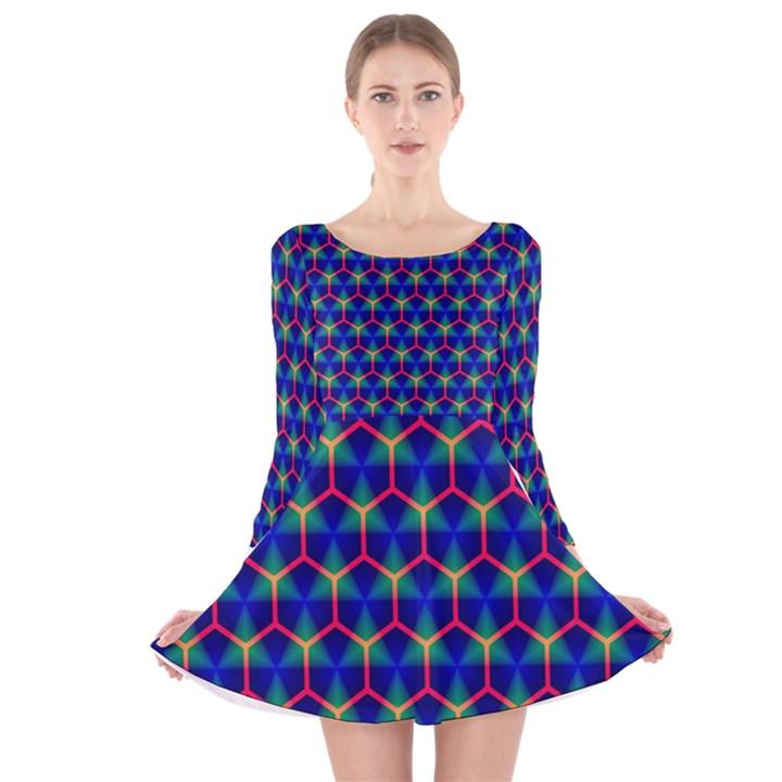 Honeycomb Fractal Art Long Sleeve Velvet Skater Dress