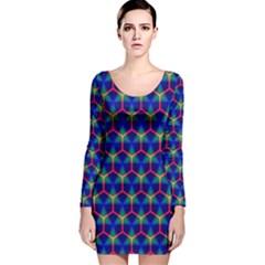 Honeycomb Fractal Art Long Sleeve Velvet Bodycon Dress