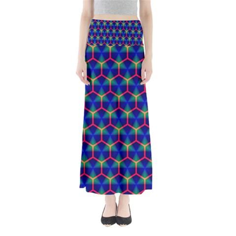 Honeycomb Fractal Art Maxi Skirts