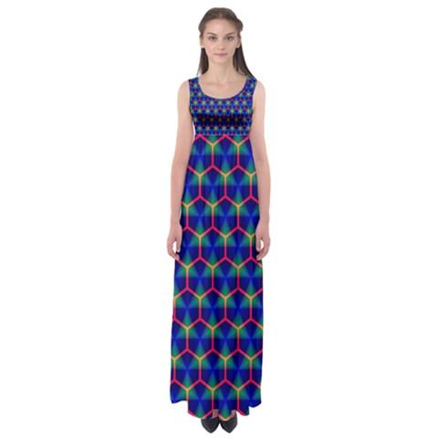 Honeycomb Fractal Art Empire Waist Maxi Dress
