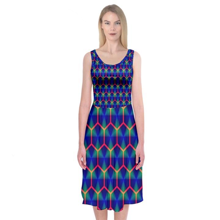 Honeycomb Fractal Art Midi Sleeveless Dress
