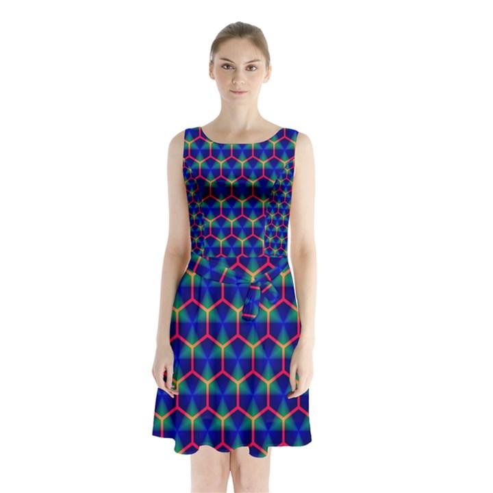 Honeycomb Fractal Art Sleeveless Chiffon Waist Tie Dress
