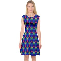 Honeycomb Fractal Art Capsleeve Midi Dress
