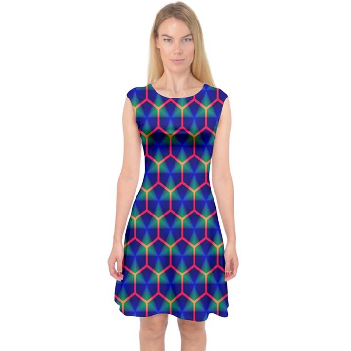 Honeycomb Fractal Art Capsleeve Midi Dress