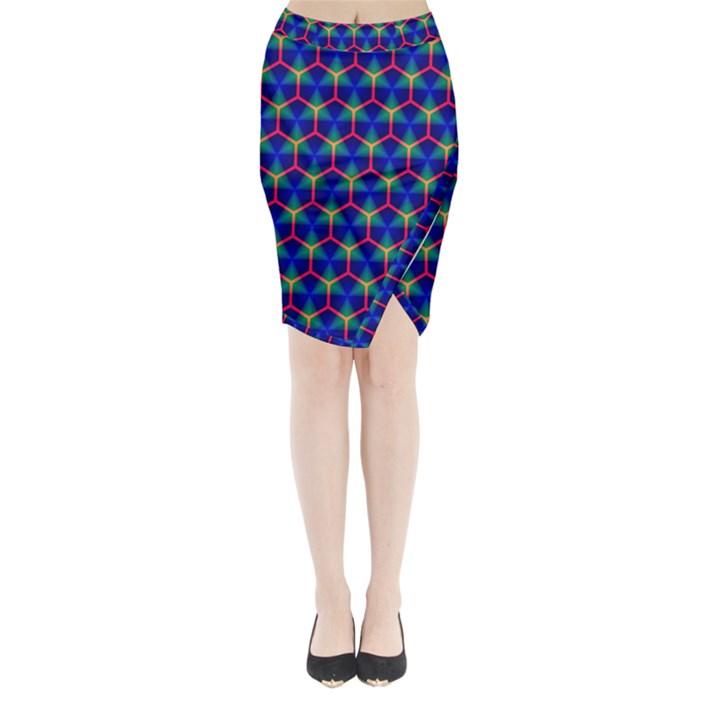 Honeycomb Fractal Art Midi Wrap Pencil Skirt