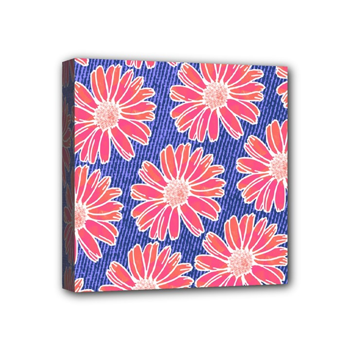 Pink Daisy Pattern Mini Canvas 4  x 4