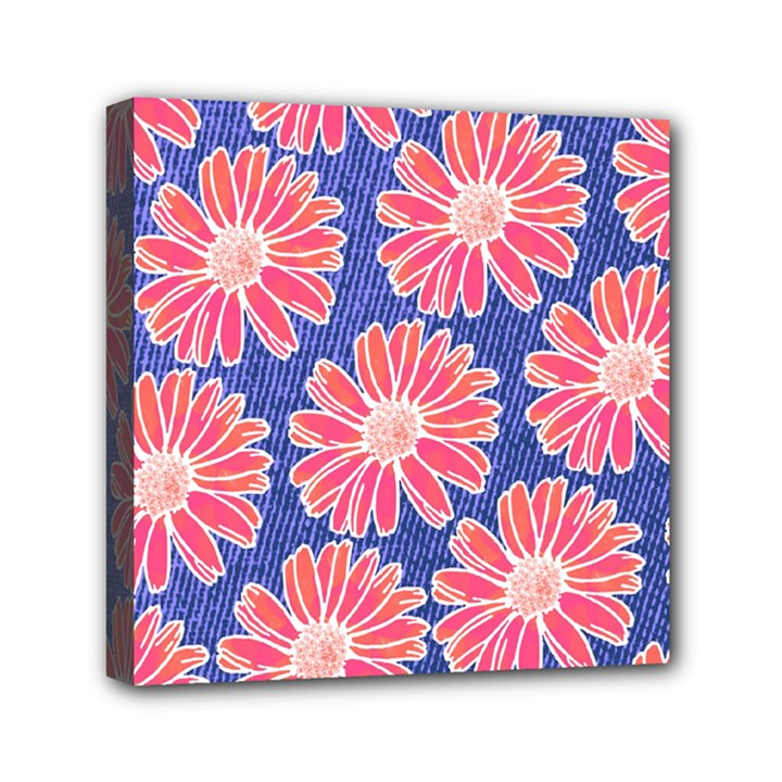 Pink Daisy Pattern Mini Canvas 6  x 6