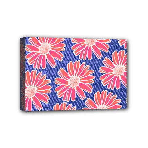 Pink Daisy Pattern Mini Canvas 6  X 4