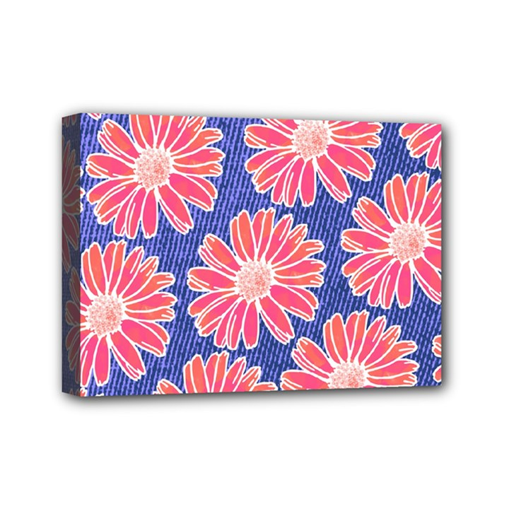 Pink Daisy Pattern Mini Canvas 7  x 5