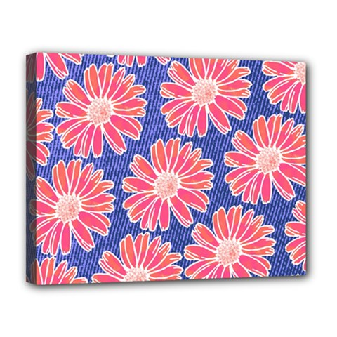 Pink Daisy Pattern Canvas 14  X 11