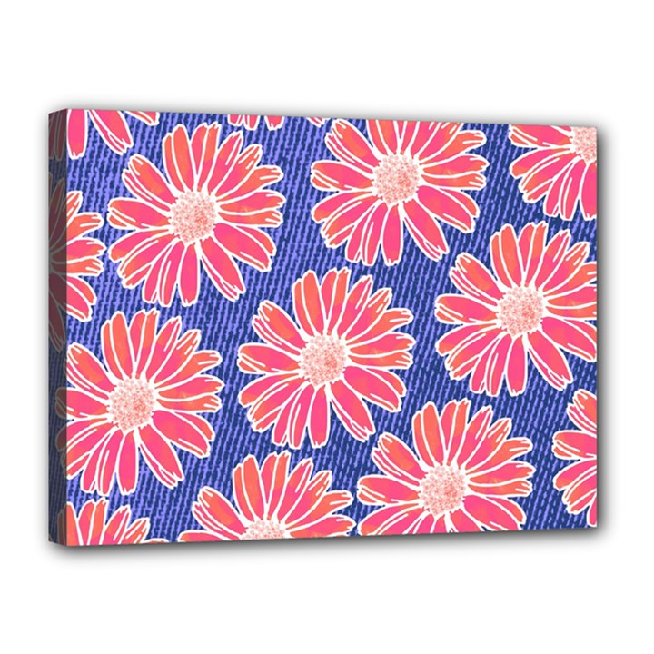 Pink Daisy Pattern Canvas 16  x 12