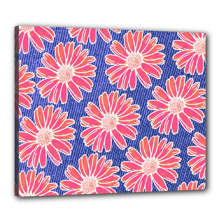 Pink Daisy Pattern Canvas 24  x 20