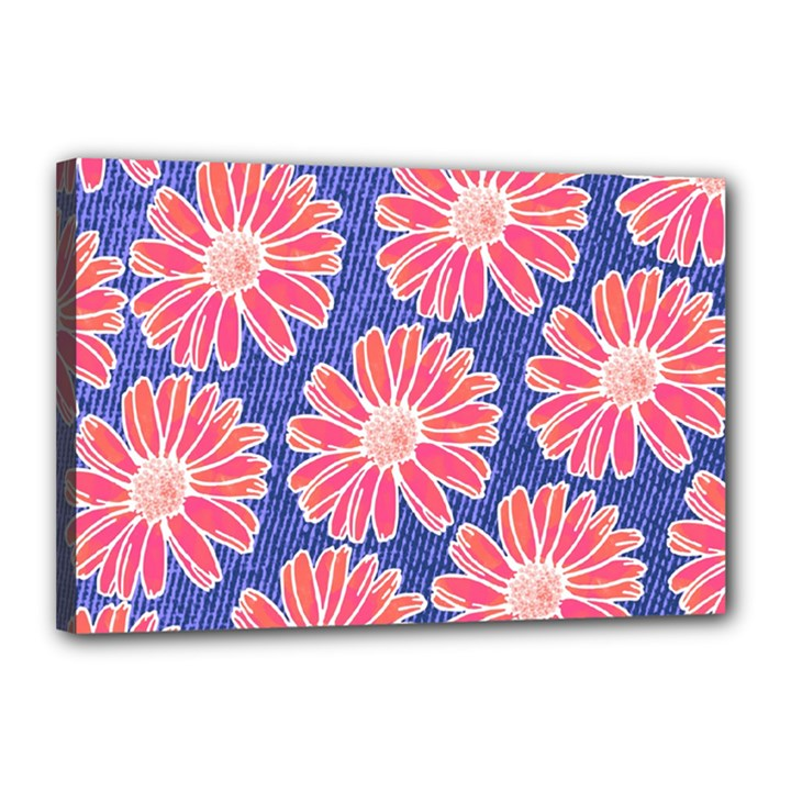 Pink Daisy Pattern Canvas 18  x 12