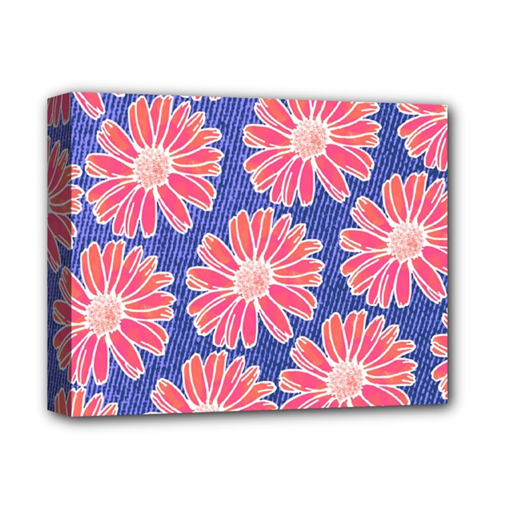 Pink Daisy Pattern Deluxe Canvas 14  x 11